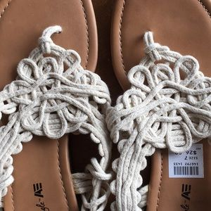 American Eagle By Payless Shoes - New crochet boho sandals cream white flat bohemian